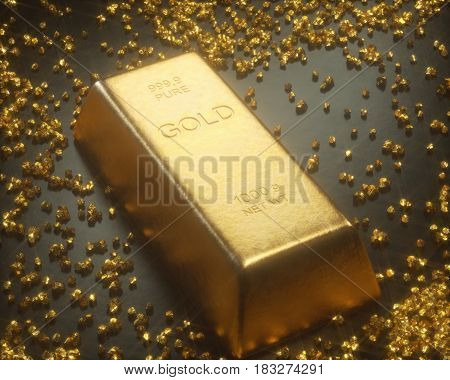 3D illustration. Gold bar 1000 grams in the middle of gold nuggets. Gold exploration and mining concept.