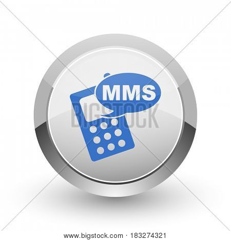 Mms chrome border web and smartphone apps design round glossy icon.