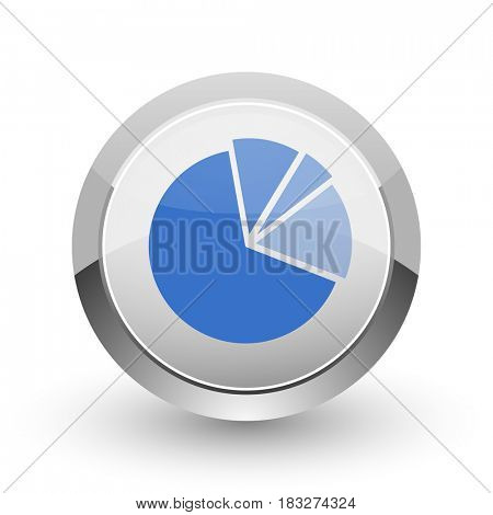 Diagram chrome border web and smartphone apps design round glossy icon.