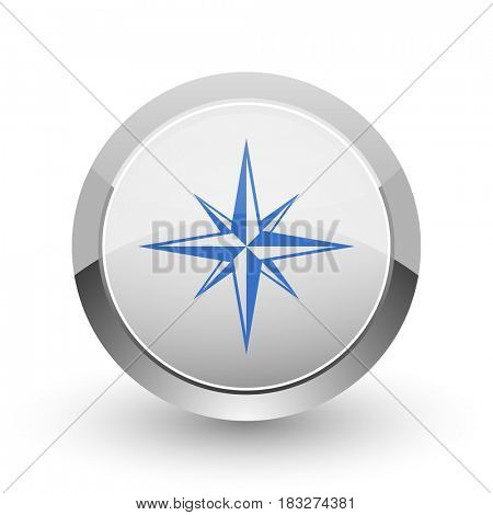 Compass chrome border web and smartphone apps design round glossy icon.