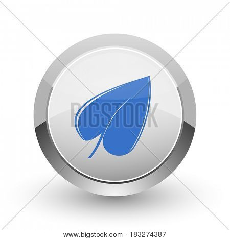 Leaf chrome border web and smartphone apps design round glossy icon.