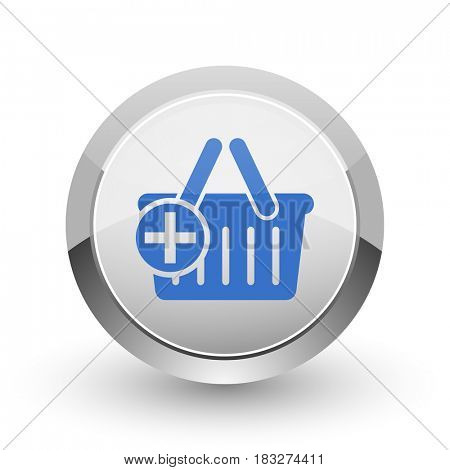 Cart chrome border web and smartphone apps design round glossy icon.