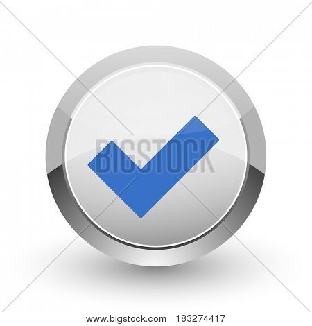 Accept chrome border web and smartphone apps design round glossy icon.