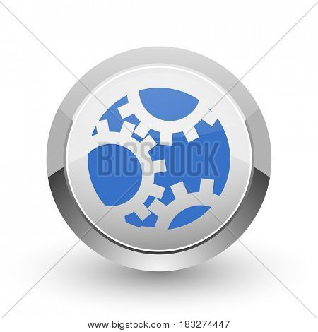 Gear chrome border web and smartphone apps design round glossy icon.