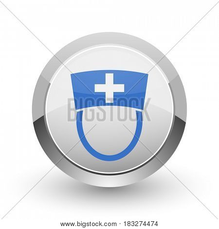 Nurse chrome border web and smartphone apps design round glossy icon.