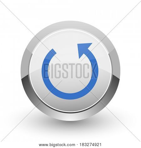 Rotate chrome border web and smartphone apps design round glossy icon.