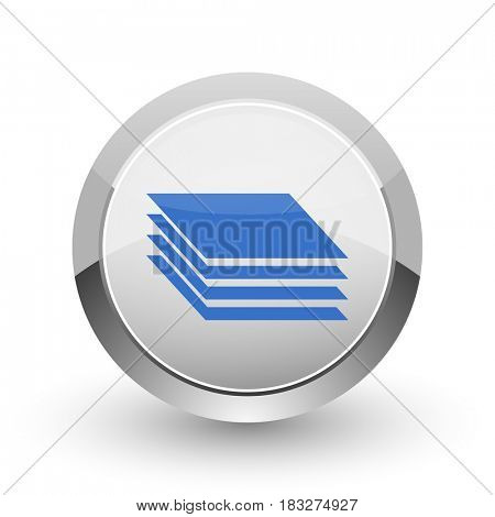 Layers chrome border web and smartphone apps design round glossy icon.