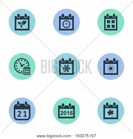 Vector Illustration Set Of Simple Plan Icons. Elements Agenda, Plant, Deadline And Other Synonyms Day, Summer And Reminder.