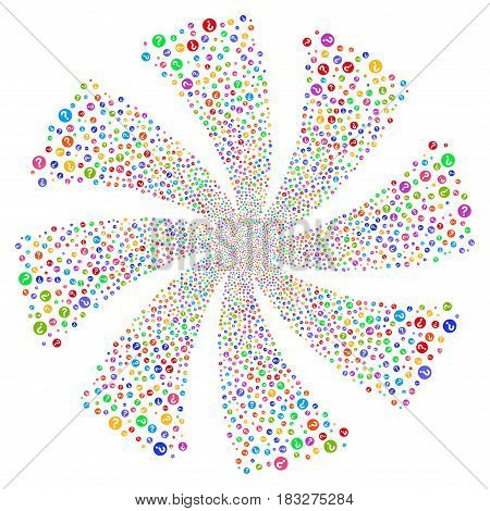 Query fireworks swirl rotation. Vector illustration style is flat bright multicolored iconic symbols on a white background. Object spiral done from random pictograms.