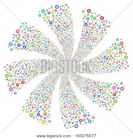 Real Estate fireworks swirl rotation. Vector illustration style is flat bright multicolored iconic symbols on a white background. Object whirlpool combined from random pictograms.