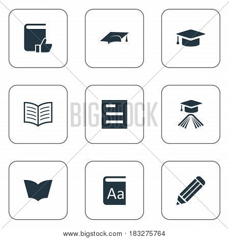 Vector Illustration Set Of Simple Reading Icons. Elements Academic Cap, Reading, Alphabet And Other Synonyms Writing, Reading And Alphabet.