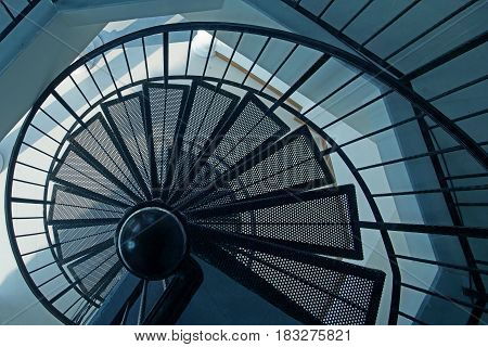 top view of a steel spiral staircase