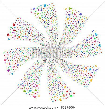 Rouble fireworks swirl rotation. Vector illustration style is flat bright multicolored iconic symbols on a white background. Object whirl combined from random icons.