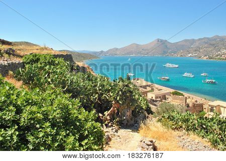 panoramic view of the Elounda town from the hill of fortress island Spinalonga