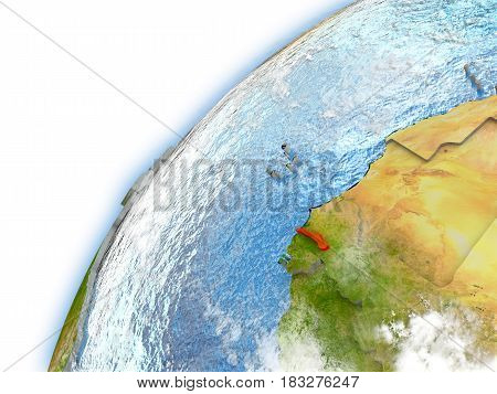 Gambia On Model Of Planet Earth