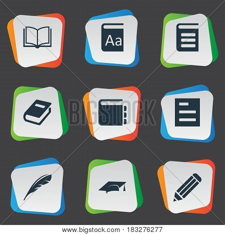 Vector Illustration Set Of Simple Education Icons. Elements Tasklist, Encyclopedia, Alphabet And Other Synonyms Hat, Pen And Dictionary.