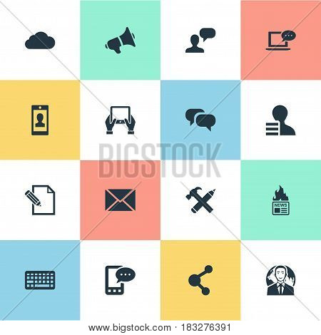 Vector Illustration Set Of Simple User Icons. Elements Notepad, Gain, Share And Other Synonyms E-Letter, Message And Gain.