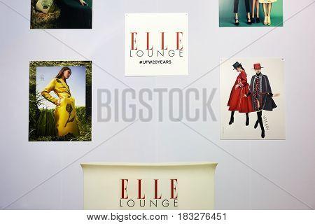 Kyiv, Ukraine - February 7, 2017: Elle Lounge Display As Part Of Ukrainian Fashion Week 2017