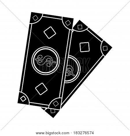 cash money icon image vector illustration design  inverted black and white