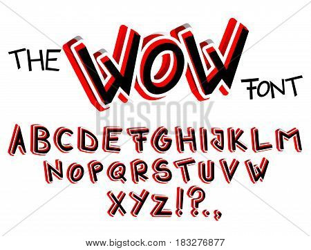 The Wow Font - Vector abstract comic book cartoon style alphabet.