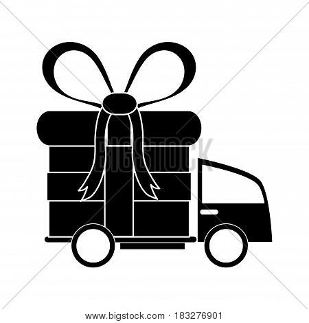 delivery truck and gift box icon image vector illustration design  inverted black and white