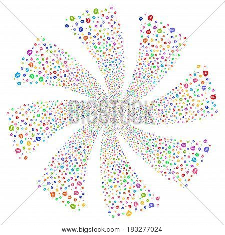 SMS fireworks swirl rotation. Vector illustration style is flat bright multicolored iconic symbols on a white background. Object twirl constructed from random symbols.