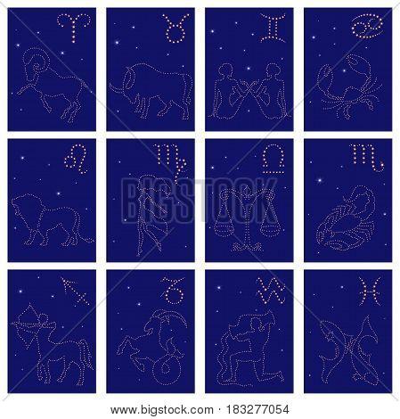Twelve Zodiac Sign Starry Contours