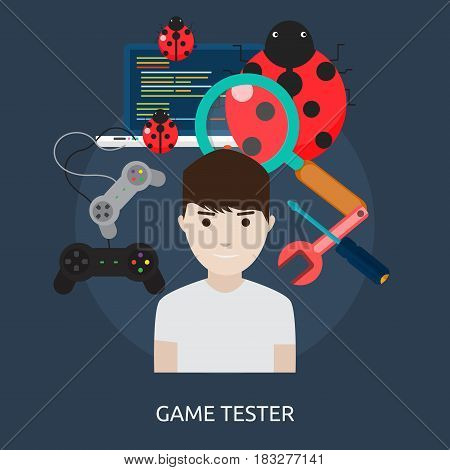 Game Tester Conceptual Design | Great flat illustration concept icon and use for human, profession, athlete, work, event and much more.
