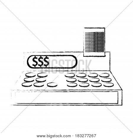 cash register icon image vector illustration design  black sketch line