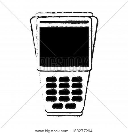 dataphone with blank screen icon image vector illustration design  black sketch line