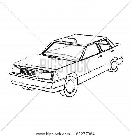 vintage 90s style taxi car icon image vector illustration design  black sketch line