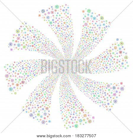 Solar System fireworks swirl rotation. Vector illustration style is flat bright multicolored iconic symbols on a white background. Object spiral combined from random design elements.