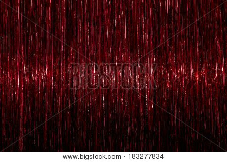 Tinsel background. Red sparkling abstract texture. Horizontal