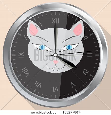 Wall clock with the image of a cat on the dial.