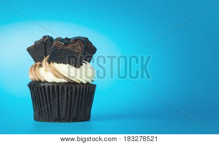 Chocolate brownie cupcake on blue copy space background