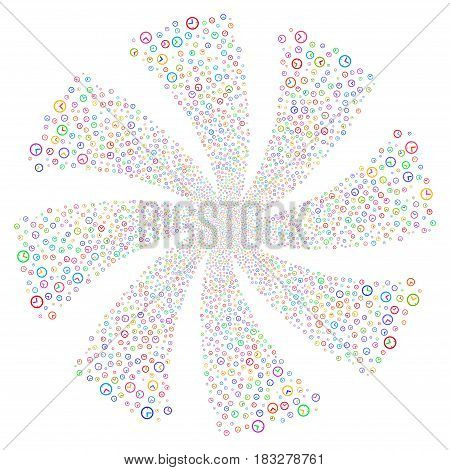 Time fireworks swirl rotation. Vector illustration style is flat bright multicolored iconic symbols on a white background. Object spiral made from random symbols.