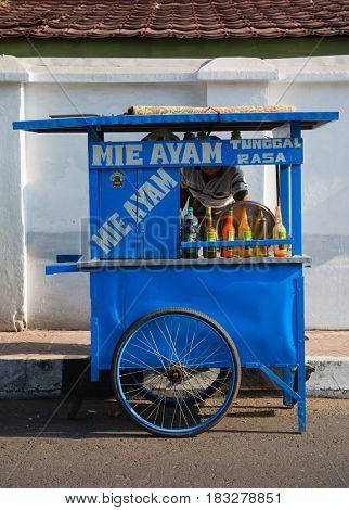 Yogyakarta - September 15, 2015: Indonesian food stall in Yogyakarta, Indonesia