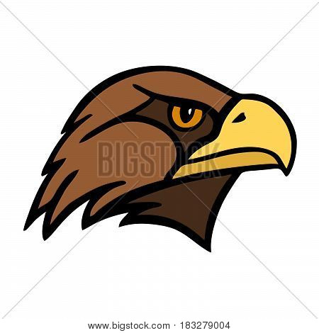 Eagle. The head of a bird of prey. Vector Image.