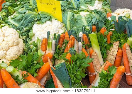 Mixed vegetables for sale at a market