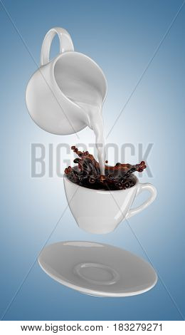Milk being poured into small cup of coffee. Blue background. 3d rendering