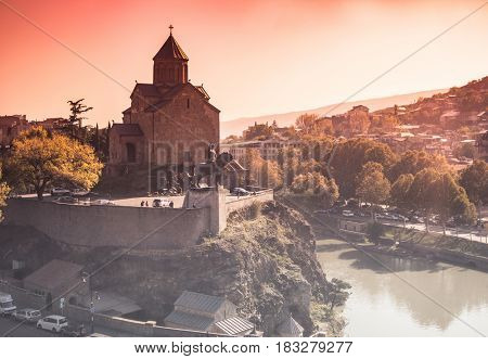 beautiful cityscape with Metekhi in Tbilisi, Georgia