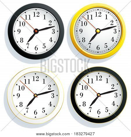 Set round wall clock with a yellow black and white body isolated on white background. Vector illustration.
