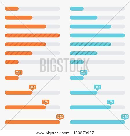 Orange and blue preloaders and progress loading bars in modern flat style. Vector illustration isolated on a light background. Progress bar template.