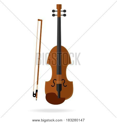 Violin with bow. Flat design vector illustration vector.
