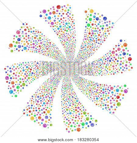 Web Browser fireworks swirl rotation. Vector illustration style is flat bright multicolored iconic symbols on a white background. Object whirl done from random icons.