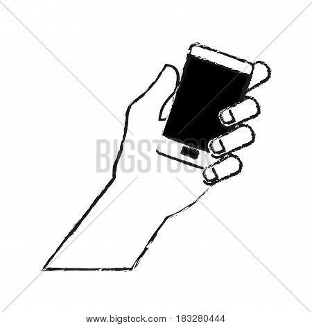 hand holding phone icon image vector illustration design