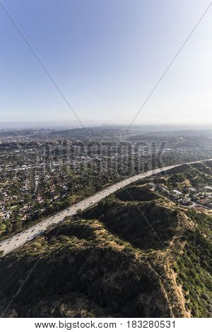 Aerial view of the Ventura 134 Freeway near Eagle Rock in Los Angeles California.