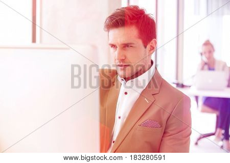 Handsome young businessman using computer in office