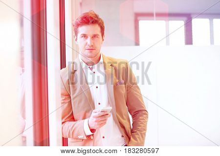 Portrait of young businessman with mobile phone leaning on window in office