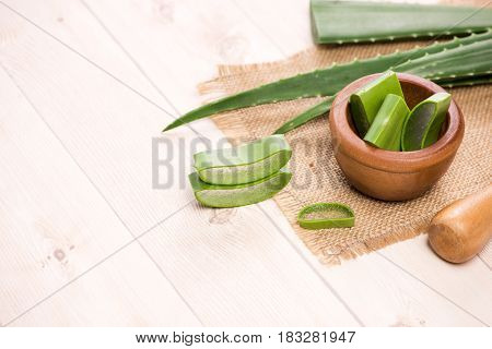 Aloe Vera Sliced And Aloe Leaves On A White Background.